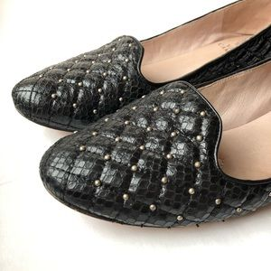 Vince Camuto Black Studded Leather Flats Loafers